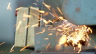 Cutting A Metal Object With Plasma Cutter - Stock Footage video