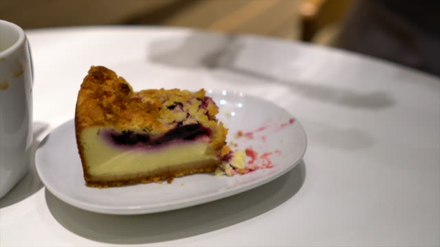 Cutting a Piece of a Blueberry cheesecake With a Fork video