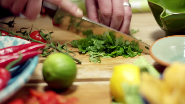 Cutting and preparing vegetables close up video