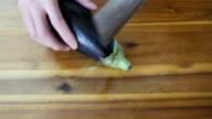 cutting aubergine video