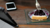 Cutting blueberry cheese cake for take a break relaxing time , 4k(UHD) video