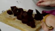 cutting chocolate video
