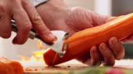 Cutting Fresh Carrots for Preparing Salad video