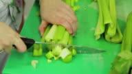 Cutting fresh celery video
