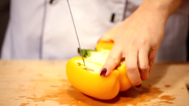 cutting fresh pepper, preparation for cooking video