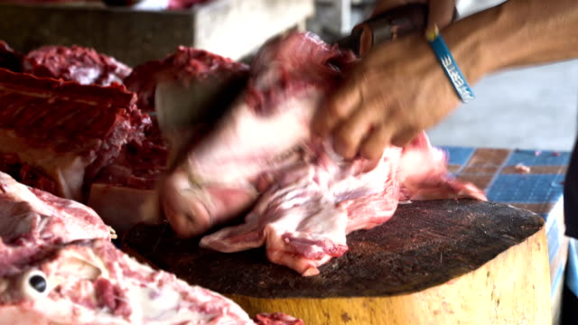 Cutting Meat at a street market video
