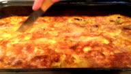 Cutting moussaka video