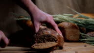 Cutting of bread video
