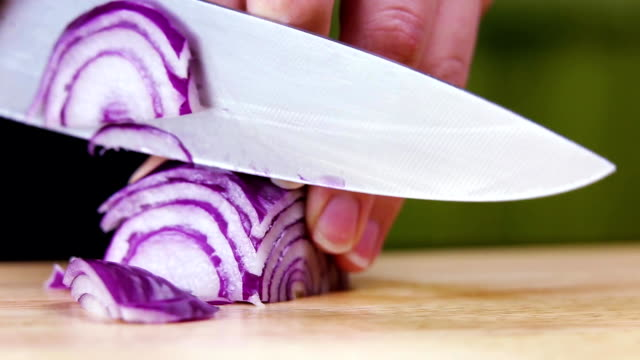 cutting onions with knife video