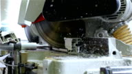 Cutting PVC profile with circular saw, plastic windows manufacture video