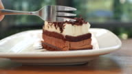 cutting slice of cake with chocolate dressing video