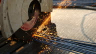 Cutting steel by cutting machine , 4k(UHD) video