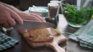Cutting Toad-in-a-Hole Meat Pie video