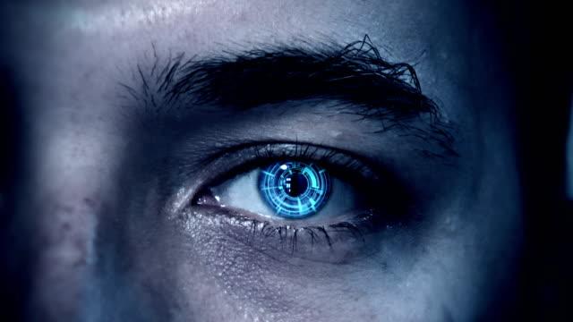 Cyborg eye close up revealing sale text video