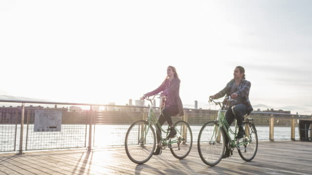 Cycling at sunset in New York video