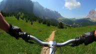 HD Cycling downhill a high mountain trail video