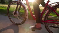 Cycling Electric Bicycle in Sunlight video