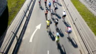 HD - Cycling Marathon. Top view video