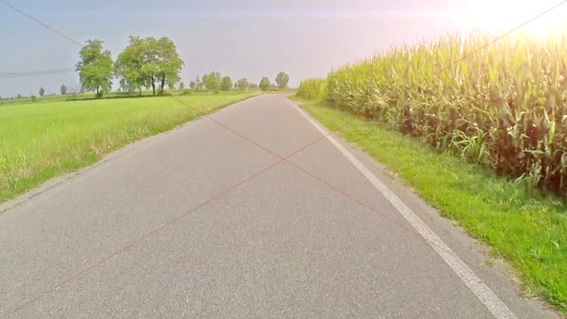 Cycling on empty country road in summer time video