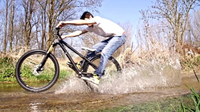 SLO MO Cycling through a puddle video