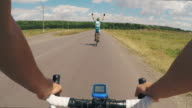 Cycling together POV video