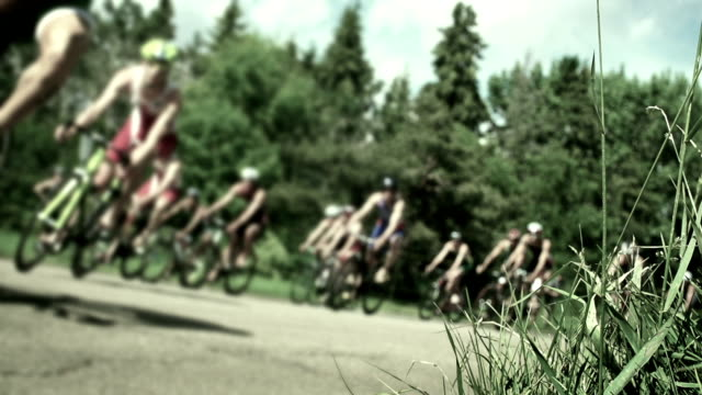 Cycling triathlon competitive road race. video