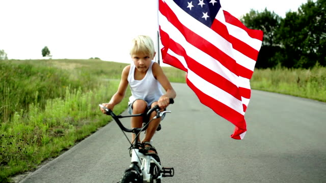 Cycling with Flag of the USA video