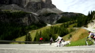 Cyclists Riding Down The Gardena Pass In South Tyrol video