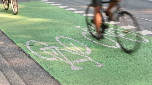 Cyclists Using Urban Cycle Path video