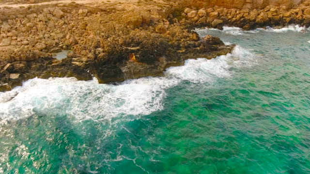 Cyprus, Ayia Napa. Aerial View. Beautiful landscape and sea waves. video