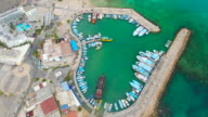 Cyprus, Ayia Napa. Aerial View. Ships in the harbor. Beautiful landscape and sea waves video