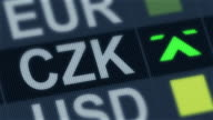 World exchange market. Currency rate fluctuating. Czech koruna rising, falling video