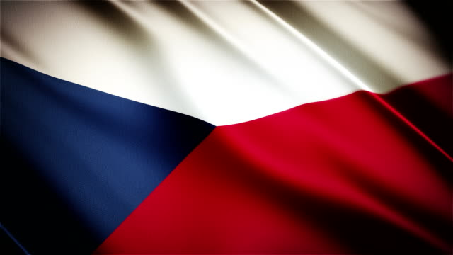 Czech Republic realistic national flag seamless looped waving animation video