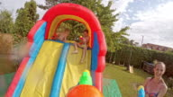 POV Dad in a water gun fight with wife and kids video