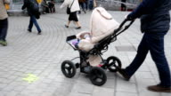 Dad Walking With Baby Stroller video