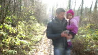 Daddy and Daughter walk in Woods video
