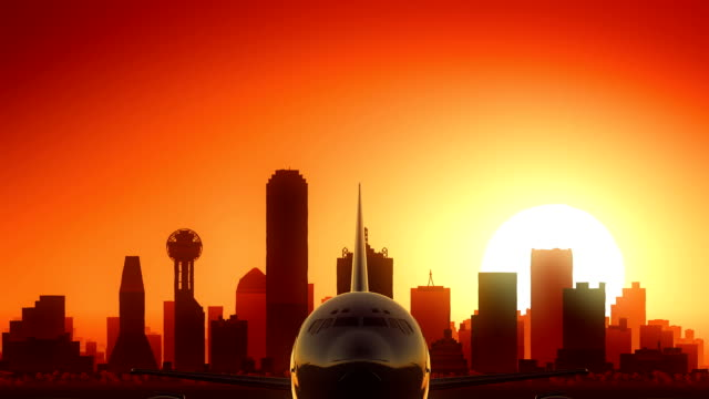Dallas Texas USA America Skyline Sunrise Take Off video