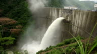 Dam discharge flood water,china video