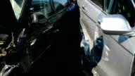 Damage automobile after a car crash video