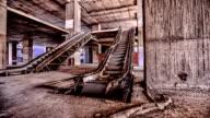 Damaged escalator inside abandoned building video