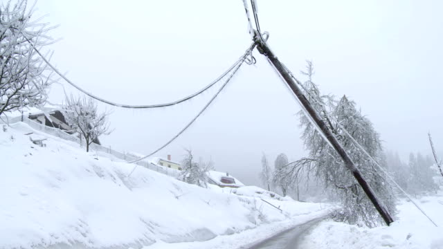 Damaged Power Pole After The Storm video