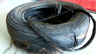 Damaged tire after tire explosion at high speed video