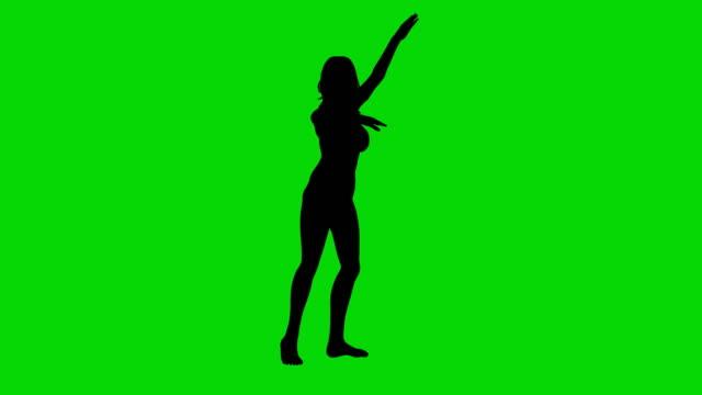 Dancer woman silhouette green screen animation video