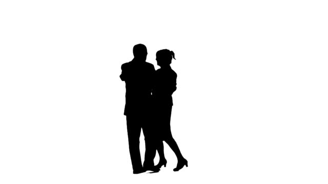 Dancing couple silhouettes video