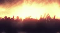 Dancing Crowd with Frozen Movement (Orange Version) - Loop video