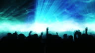 Dancing Crowd with Particles (Blue Version) - Loop video
