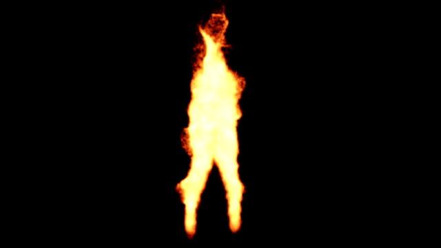 Dancing fire silhouette video