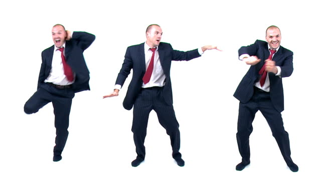 Dancing funny businessman loop video