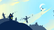 Dancing home, looping animation video