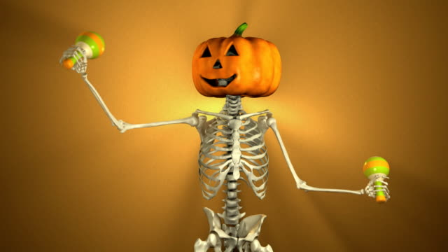 Dancing Pumpkin Head with Maracas for Halloween (Loopable and Alpha-Matte) video